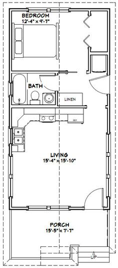 16x32 Tiny House -- 511 sq ft -- PDF Floor Plan -- Model 1W