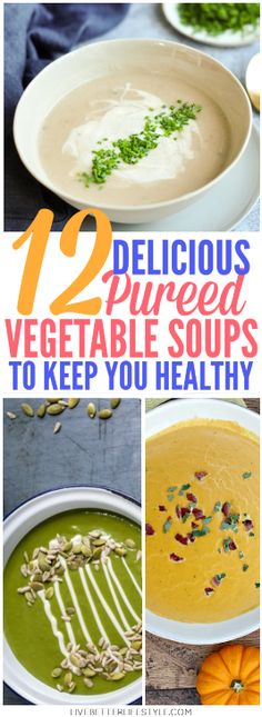 12 Delicious Pureed Vegetable Soup Recipes These delicious pureed vegetable soup recipes is what you need to keep you healthy! Definitely pinning for later! - Pratik Hızlı ve Kolay Yemek Tarifleri Pureed Vegetable Soup Recipe, Puree Soup Recipes, Vegetable Soup Healthy, Pureed Soup, Pureed Food Recipes, Healthy Soup Recipes, Diet Recipes, Vegetable Recipes, Breakfast Soup