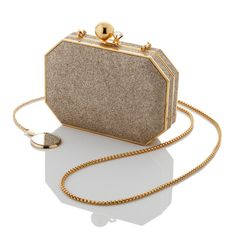 """Pale Gold micro-sparkle Nudemoiré lining Gold plated hardware Ball and Gem Closure with a Swarovski Crystal Gold plated touch-up mirror Convertible chain shoulder strap 6 1/4"""" x 4 1/4"""" x 1 1/4"""" Made in Italy"""