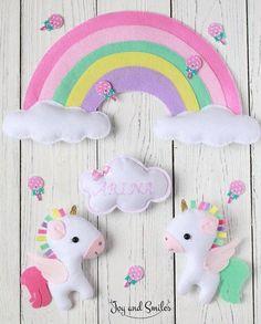 Unicornios de fieltro con moldes gratis para imprimir