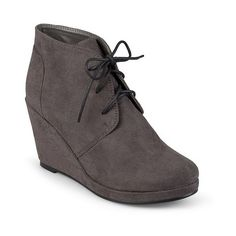 Women's Journee Collection Faux Suede Wedge Booties - Grey ($50) ❤ liked on Polyvore featuring shoes, boots, grey, lace up boots, target shoes, oxford shoes, target boots and gray lace up boots