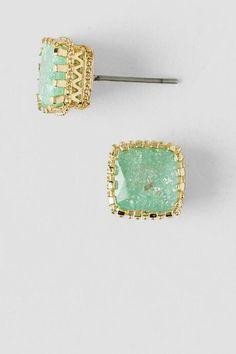 Jacey Cubic Zirconia Stud Earrings in Mint $16.00    Francesca's
