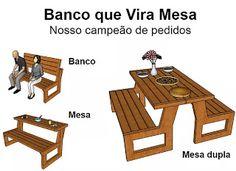 Ah! E se falando em madeira...: +1 banco que vira mesa