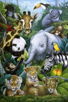 "Trademark Art ""A Rare Occasion"" by Jenny Newland Graphic Art on Wrapped Canvas Size: Baby Zoo Animals, Safari Animals, Photo Wallpaper, Art Reproductions, Decoration, Wrapped Canvas, Graphic Art, Fabric Crafts, Giraffe"