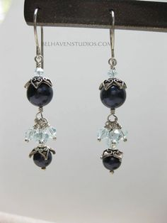 Swarovski crystals and pearl beads Balinese oxidized sterling silver earrings Beaded crystals earrings sterling silver jewelry - pinned by…