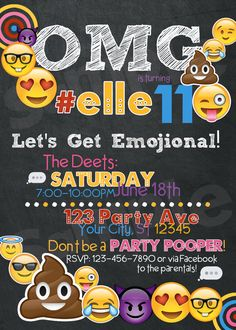 Emoji Birthday Invitation / Printable / Custom by TheGPaperie