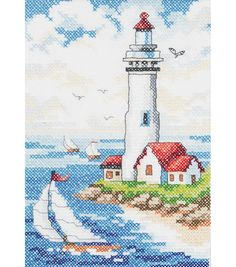 Janlynn Stamped Cross Stitch Kit Lighthouse