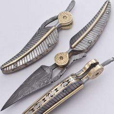 Leaf Shaped Damascus Folding Knife