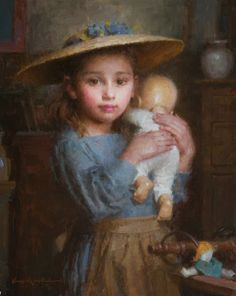 Fine Art and You: Morgan Weistling | U.S. Painter | Children Paintings Young Girl With Her Doll