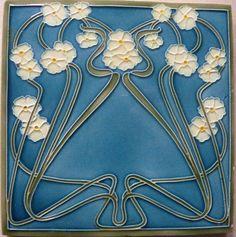 Excellent No Cost pottery art nouveau Thoughts Motifs Art Nouveau, Azulejos Art Nouveau, Art Nouveau Tiles, Art Nouveau Design, Vintage Tile, Vintage Art, Antique Tiles, Ceramic Painting, Ceramic Art