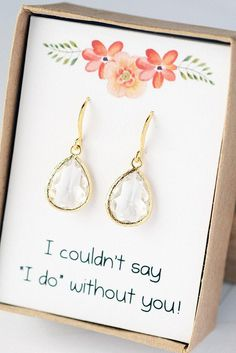 Bridesmaid Jewelry Bridesmaid Earrings Wedding Jewelry for Bridesmaids Earrings Bridal Gift Earrings Wedding Jewelry LimonBijoux See more dangle earrings and all my items at LimonBijoux.Etsy.Com Beautiful and elegant! Drop Dangle Earrings, Crystal Clear, measure about 1.5 inches from top to bottom and are 16k gold vermeil, so classic. Crystal Clear glass is faceted to sparkle with every turn! Will make an excellent gift for yourself or friends. Message me if you need more than are listed…