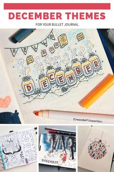 December Bullet Journal Themes Plan with Me videos and cover pages to excite you! Bullet Journal Décoration, Bullet Journal October, Bullet Journal Monthly Spread, Bullet Journal Printables, Bullet Journal Themes, Bullet Journal Layout, Bullet Journal Inspiration, Journal Covers, Journal Pages