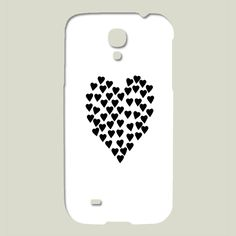 Fun Indie Art from BoomBoomPrints.com! http://www.boomboomprints.com/Product/projectm/Hearts_Heart_Black_on_White/Galaxy_Cases/Samsung_Galaxy_S4_Slim_Case/ #black #white #blackandwhite #hearts #heart #love #galaxy #Samsung #phone #case