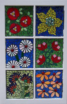 glass on glass old window mosiac flowers
