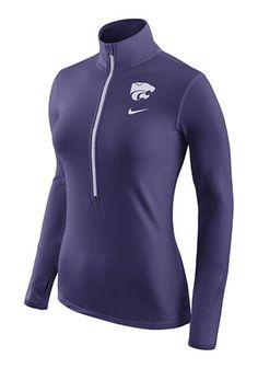 Nike K-State Wildcats Womens Hyperwarm Purple 1/4 Zip Performance Pullover