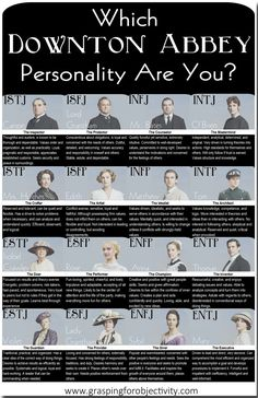 There's one for Star Wars, and one for Harry Potter. But alas, no MBTI personality chart for Downton Abbey. Not one to shy away from helping out in the need for Downton Abbey graphics, I felt it was my duty to step in and solve this problem. I pondered each character...