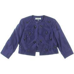 Kasper Womens Purple Bead-Embellished Bolero Jacket Petites 12P NWT MSRP $129