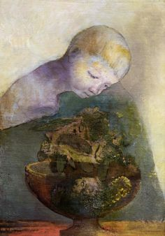 Odilon Redon (French, 1840-1916), The Chalice of Becoming, 1894. Oil on canvas mounted on cardboard, 49 x 34,3 cm