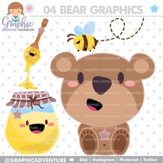 Bear Clipart, Bear Graphic, Clip Art, COMMERCIAL USE, Kawaii Clipart, Bear Party, Planner Accessories, Animal Clipart, Teddy Bear, Teddy