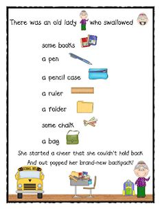 There Was an Old Lady Who Swallowed Some Books Mini Unit by Lil' Country Kindergarten