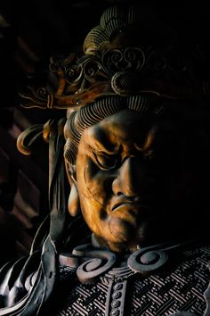 """Japanese Tamonten statue 多聞天 - The characters mean """"Much hearing god"""" or """"Deity who hears much""""."""