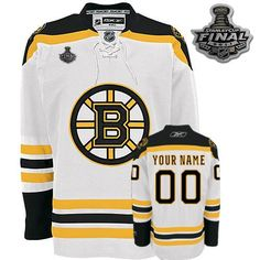 Custom Reebok Boston Bruins Jersey Customized White Road Men With 2011  Stanley Cup Finals NHL Jerseys 07bd6d88d