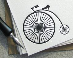 Bike Bicycle Vintage Bicycle Letterpress Penny by sweetharvey, $18.00
