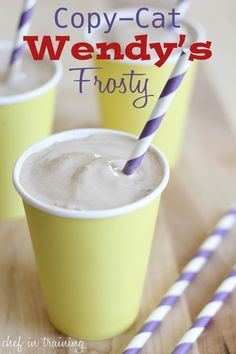 Copy-Cat Wendys Frosty! Only 3 ingredients and tastes extremely close to the real thing! Ingredients Print This Recipe Print This Recipe 4 cups vanilla ice cream I typically use Frozen Yogurt found in the ice cream aisle 1/4 cup Nesquik Chocolate flavor 3/4 cup milk I have used skim and it tastes just as great Instructions Place all ingredients in blender and blend until smooth.