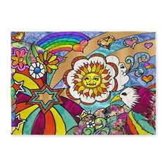 #Psychedelic #Sunshine #Art 5'x7' Area #Rug #Retro #Eagle #HomeDecor #Rainbow #Stars You can find additional products with this design at my store  http://www.cafepress.com/leehillerdesigns/8761216
