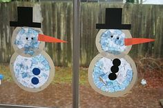 Snowman using tissue paper, contact paper and construction paper- let the older kids cut out their own hats, scarves, buttons, and stick arms!