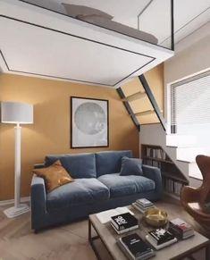 Loft House Design, Modern Small House Design, Small House Interior Design, Small Apartment Interior, Small Apartment Design, Apartment Layout, Coastal Interior, Small Room Design Bedroom, Home Room Design