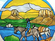 Southwestern Cowboy and PackHorse Stained glass painting Red Deer Alberta image 1