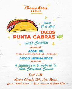 CDMX friends  It's going to get good @cocina_conchita tonight w/special guest from LA's @tacopuntacabras cooking alongside @dhbaquedano  Still a few spots left  Wish we could make it down!  #cdmx #conchitamakesmehungry
