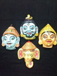 A pattachitra papier mache mask of Ganesh by PattachitraNet