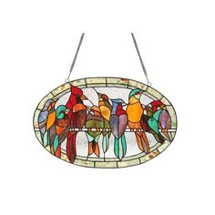 This Tiffany style window panel with a charming bird design will add beauty to any room. Handmade from over 185 hand cut pieces of art glass in tones of blue, red and orange, this suncatcher will add bursts of vibrant colors to your home decor. Modern Stained Glass Panels, Custom Stained Glass, Stained Glass Birds, Stained Glass Suncatchers, Stained Glass Windows, Window Glass, Leaded Glass, Fused Glass, Stained Glass Supplies