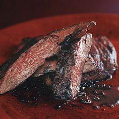 Sumac Skirt Steak with Pomegranate Reduction Recipe Main Dishes with pomegranate juice, sugar, salt, sumac, black pepper, skirt steak, unsalted butter, shallots, tawny port, fresh lemon juice