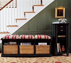 Would love this by the stairs in the entryway living room area... in either a dark cherry or espresso, or in cream.
