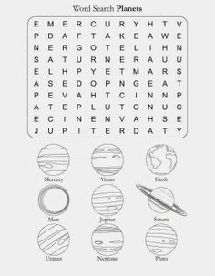 Printable Search Solar Planets Name Worksheet