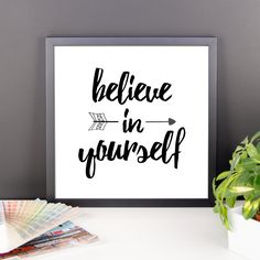 """Digital Download Wall Art Life Quotes - Believe in Yourself - 14x14"""" Printable - Three Word Quote - Personalized Unique Life Quotes Gift by TheDelicateProject on Etsy"""