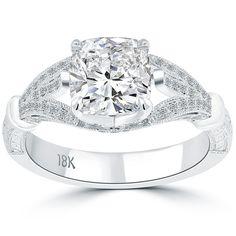 2.47 Ct. G-SI1 Cushion Cut Diamond Engagement Ring 18k White Gold Vintage Style #LioriDiamonds #DiamondEngagementRing