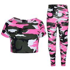 2d5554e7 A2z 4 Kids Girls Top Kids Camouflage Print Crop Top & Legging Set - 11-12