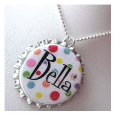Surround her name in colorful Rainbow Polka Dots on this Bottle Cap Pendant, hand appliquéd with their name, nickname or initial. Bird Jewelry, Jewelry Crafts, Jewelery, Diy Gifts, Unique Gifts, Great Gifts, Crafts For Kids, Arts And Crafts, Bottle Cap Necklace
