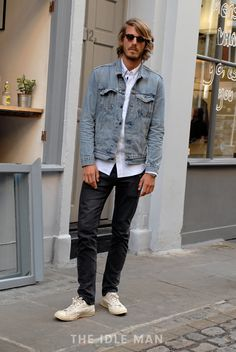 Dangerous Denim | Contrasting denim is a foolproof way to get an effortlessly edgy look. Pair dark skinny jeans with a light wash denim jacket, white oxford shirt and Persols. | Shop men's clothing at The Idle Man