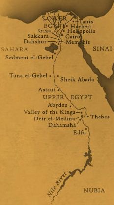 A map of the Nile valley showing the early Kingdoms of Egypt