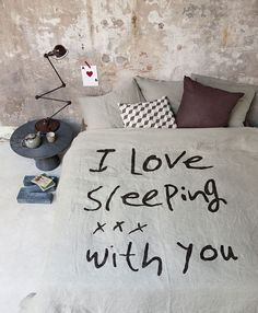 I love sleeping! #quote #duvetcover #bedroom Styling Cleo Scheulderman Fotografie James Stokes
