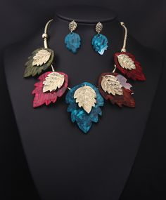 Special design colorful leaf chunky statement necklace new arrival