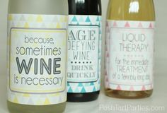 Oh my, I have been waiting to share this for a while, and I simply can't hold out anymore! Today I'm sharing these SUPER FUN free printable wine bottle labels.  Whether you're cheering up a best bud, looking for a funny hostess gift or just a unique way to display …
