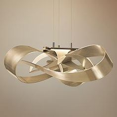 Hubbardton Forge Flux Gold Ribbon 26 1/2-Inch-W LED Pendant