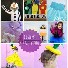 Carnevale: costumi senza cuciture fai da te I School, Costumes, Superhero, Sewing, Kids, Mani, Tutorial, Tulle, Fabrics