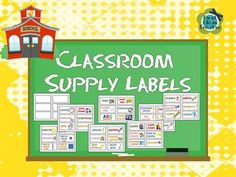 Classroom Supply Labels for Primary Teachers with Picture Clues (FREE) from First Class Teacher Resources on TeachersNotebook.com -  (10 pages)